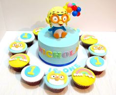 Kid party-- Pororo cake with cupcakes. MyCupKates by brendaq Fondant Toppers, Fondant Cakes, Cupcake Toppers, Birthday Party Appetizers, Boy Birthday Parties, Penguin Cakes, First Birthday Cakes, Cute Cakes, Cupcake Cookies