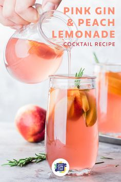 Pink Gin Cocktails, Cocktail Gin, Peach Drinks, Lemonade Cocktail, Gin Cocktails For Summer, Alcoholic Lemonade Drinks, Non Alcoholic Cocktails, Sweet Cocktails, Easy Cocktails