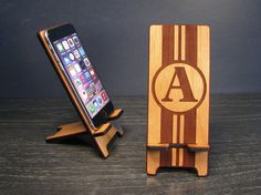 Wooden Initial Monogrammed Phone Stand Wood by PhoneTastique