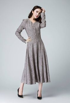 This is a spring linen dress, midi women dress. The sleeve length is longer for the women, we will made the normal sleeve length as your height when you make order. DETAIL * Soft Linen * Hidden back zipper * V neck line * Long sleeve * Wash by hand or machine with cold water * Fit and