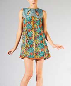 Take a look at the Turquoise Floral Keyhole Sleeveless Dress on #zulily today!