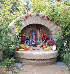 altar de jardin, garden alter