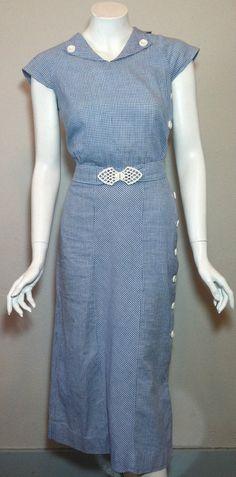 Vintage Rare 1930s 1940s Summer Sun Blue Button by HoiPolloipj, $169.00