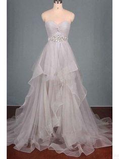 2a8684e738fe Sweetheart Beading Waist Long Tulle Prom Dresses Evening Dresses  #promdresses #SIMIBridal  longpromdresses Abiti