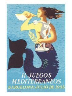 1955 Mediterranean Games Giclee Print