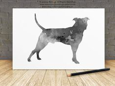 Monochrome Pitbull Giclee Art Print Dog Abstract Black and