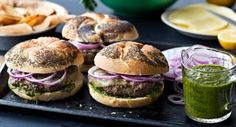 Argentinian Beef Burgers with Chimichurri: Argentinians typically serve their grilled meats with Chimichurri, a bright green sauce of chopped fresh parsley, garlic and olive oil. Serve with burgers to liven up the flavor.