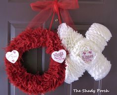 Valentine's Door Decoration - Hugs & Kisses xoxoxox [Burlap wreath 'O' and coffee filter 'X']