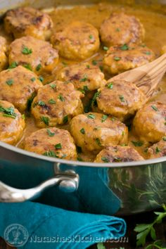Chicken Meatballs in a Cream Sauce ~ Serve over buttered egg noodles or atop a mountain of creamy mashed potaters.