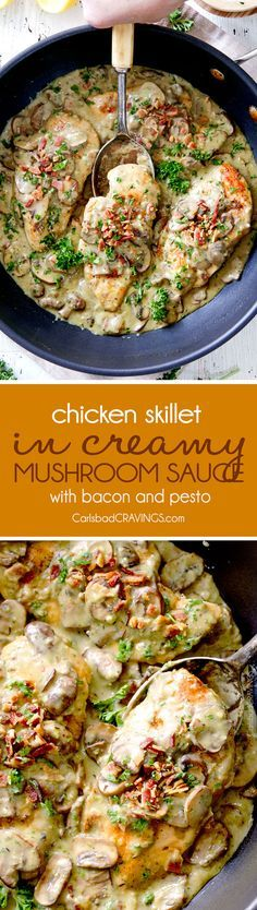 LIGHTER 30 Minute Chicken in Creamy Mushroom Sauce with Bacon and Pesto is one of the easiest yet most delicious chicken dinners you will ever make! Love it alone or with pasta, rice or potatoes, etc
