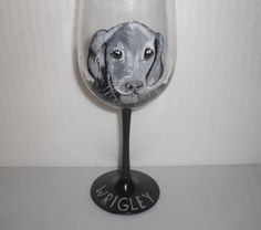 Hand Painted Wine Glass featuring your dog by JordanFeesArt