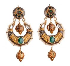 SKU-RPSE06047  Gold patra reversible earring made with sterling silver,marcasite stones