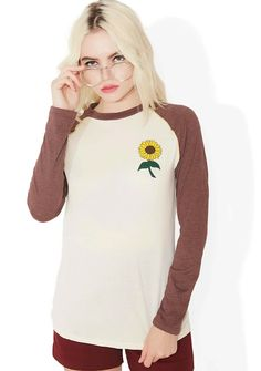 Camp Collection Sunflower Tee here comes da sun, bb. This adorable graphic long  sleeve features contrasting raglan sleeves, locker loop detail, ...