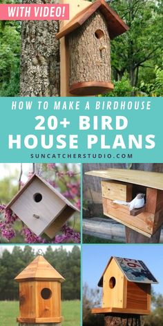 These custom home birdhouse plans are completely DIY. They are great for beginners to woodworking or for teens to accomplish a fun outdoors project that will add to your backyard or garden. Attracts birds of all kinds, see your project in action. Easy to make, some of these projects can be completed in under an hour. A large variety of birdhouse plans from hanging nesting boxes to birdhouses made from naturally fallen logs. Dyi Bird House, Bird House Plans, Bird Houses Diy, Diy Projects For Beginners, Beginner Woodworking Projects, Cool Diy Projects, Woodworking Ideas, Pallet Projects, Birdhouse Designs