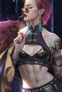A ferocious Cyberpunk 2077 wallpaper of a sexy female character smoking a cigarette. Cyberpunk 2077, Cyberpunk Girl, Arte Cyberpunk, Cyberpunk Fashion, Female Character Design, Character Design Inspiration, Character Art, Character Concept, Sci Fi Characters
