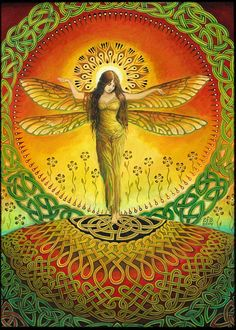 Dragonfly Goddess Art Celtic Pagan Fairy Queen 5x7 Greeting Card