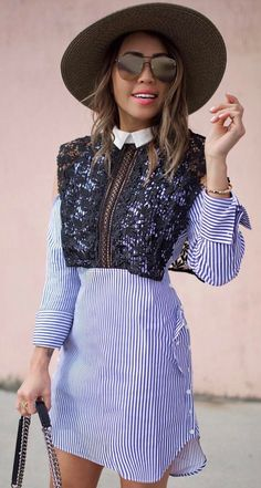 #spring #outfits Black Lace Overlay + Purple Striped Dress
