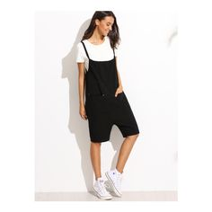 SheIn(sheinside) Black Pocket Overall Shorts (21 CAD) ❤ liked on Polyvore featuring black and short overalls