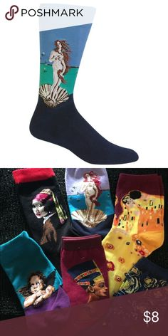 Emporiama's Hallowed Hallways Socks Birth Of Venus Emporiama's Hallowed Hallways Art Museum Collection Socks.  Now Available To Bundle Multiple Pairs & Styles  Botticelli's The Birth Of Venus Socks 95% Cotton, 5% Spandex Fits Size 5-12 Unisex, For Women & Men  I Learn Something New Every Day & I Just Learned  That It's Not Possible To Bundle Multiple Items From The Same Listing  So, I'm Adding Separate Listings For  All Of Emporiama's Hallowed Hallways Socks  Look For All The Other Styles…
