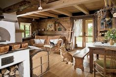 chata w Smolniku Cabin Homes, Log Homes, Cosy Cafe, Old Fashioned Kitchen, Design Case, Rustic Interiors, House In The Woods, My Dream Home, Rustic Style