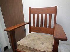 Antique Mission Binghamton Morris Chair Oak Rocker Arts & Craft Stickley 1900's