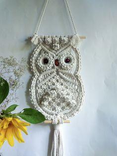 Macrame Owl Wall hangings,Wall decor Art handmade Boho,Owl white,Owl lover gifts,Dreamcatcher,owl decor,owl figurine,owl decor nursery