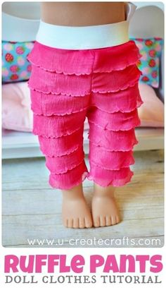 "Cute ruffle American Girl 18"" Doll pants tutorial."