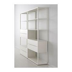 IKEA - FJÄLKINGE, Regal mit Schubladen, , Durch die schmalen, langen Böden wirkt das Regal leicht und grazil. Seine schlichte, klare Form passt zu vielen Möbelstilen.Das Regal aus Stahl ist robust und haltbar.Dank versetzbarer Böden kann der Innenraum in der Höhe dem Aufbewahrungsbedarf angepasst werden.Dank integriertem Dämpfer schließen sich die Schubladen langsam, sanft und geräuschlos.