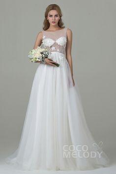 Graceful Sheath-Column Illusion Natural Train Tulle Ivory Sleeveless Zipper Wedding Dress with Beading and Appliques CWXT15012  #weddingdresses #2016 #beading