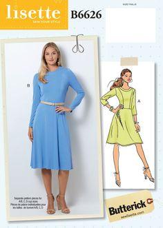 Lisette for Butterick knit dress sewing pattern Petite Dresses, Size 14 Dresses, Dresses For Work, Dress Sewing Patterns, Clothing Patterns, Sewing Ideas, New Look Dress Patterns, Sewing Projects, Skirt Patterns
