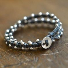 Beaded wrap bracelet in sterling silver