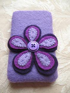 Purple Flower Felt Iphone cover
