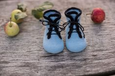 Baby boy shoes infant boots felted baby booties laced shoes newborn gift baby shower day gift blue boots wool shoes kids boots black laces by AureliaFeltStudio on Etsy