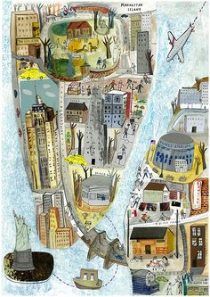 This is a scan of my map of New York. I am going to experiment with using a different pattern for the sea.