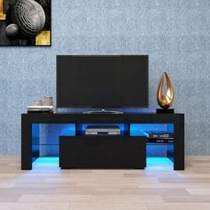 Tv Stand With Led Lights, Led Tv Stand, Black Tv Stand, White Tv Stands, Modern Tv, Modern Minimalist, Console Modern, Modern Design, Contemporary Design