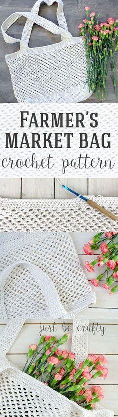 Farmer's Market Bag Pattern - Free Pattern by Farmer's Market Bag Crochet Pattern - FREE Pattern by Just Be Crafty!Farmer's Market Bag Crochet Pattern - FREE Pattern by Just Be Crafty! Crochet Diy, Bag Crochet, Crochet Shell Stitch, Crochet Market Bag, Crochet Handbags, Crochet Purses, Crochet Gifts, Crotchet, Crochet Ideas