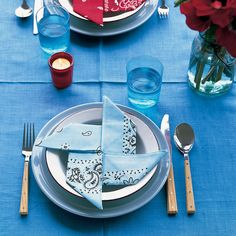 Make a down-home meal more fun with pinwheel napkins made from bandannas (they're easy to find and inexpensive).