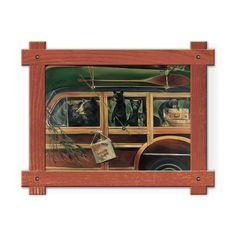 Framed in a rustic-style design, these distressed frames, are the perfect complement to the art they enhance family of six black bears driving an old fashioned woody car with a green canoe on top. Art by Mason Maloof Designs.