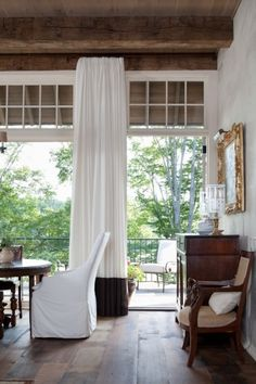 floor-to-ceiling curtains, reclaimed wood ceiling via Kate Jackson Design