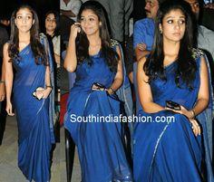 Nayanthara in Plain Blue Saree with Brooch ~ Celebrity Sarees, Designer Sarees, Bridal Sarees, Latest Blouse Designs 2014