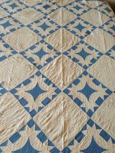 Antique Handmade Vintage Blue and Cotton White Cutter Quilt Crown Curve 70 x 82 | eBay, slicvic58