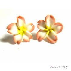 FIMO Blüten Ohrstecker braun weiß gelb XL  im...