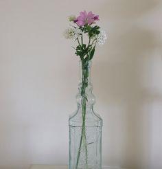 Pretty Vintage Bottle, Flower Vase, Decorative, Shabby Chic
