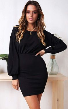Lantern Sleeve Zipper Back Casual Dress Shop- Women's Best Online Shopping - Offering Huge Discounts on Dresses, Lingerie , Jumpsuits , Swimwear, Tops and More. Casual Dresses For Women, Trendy Outfits, Fashion Outfits, Clothes For Women, Dress Casual, Fashion Ideas, Women's Fashion, Fashion Design, Beautiful Dresses