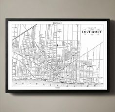DETROIT Map Print, Black and White Detroit Decor Detroit is a city of firsts. Its the first city to pave a mile of concrete road; its responsible for