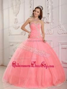b5783c824b3 Lovely Ball Gown Sweetheart Floor-length Tulle Appliques Watermelon  Quinceanera Dress  simplequinceaneradresses Quinceanera Dresses