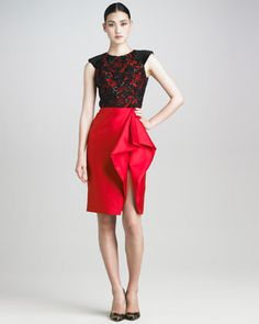 Would wear with AMcQ knuckle-duster clutch and strappy black stilettos.    Lace-Bodice Cocktail Dress by Jason Wu at Neiman Marcus.