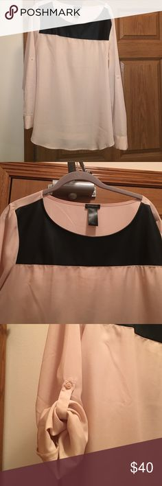 Rose and leather blouse Still in great condition. Sleeves roll up if wanted. 100% polyester Ann Taylor Tops Blouses