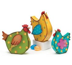 Amazon.com - Set of 3 Whimsical Tin Chicken Hen Figurines Adorable Kitchen Decor - Collectible Figurines