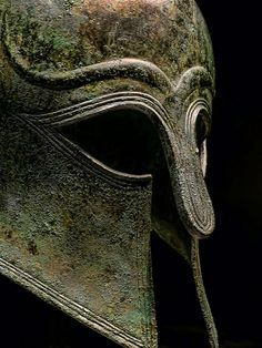 Corinthian helmet Greek Apulia, Italy 510 BCE Bronze by mharrsch, via Flickr